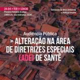 Projeto de Lei, que quebra ADE de Santa Tereza, tem Audiência Pública