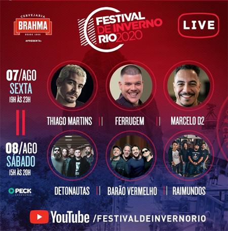 Lives do Festival de Inverno Rio 2020 neste fim de semana